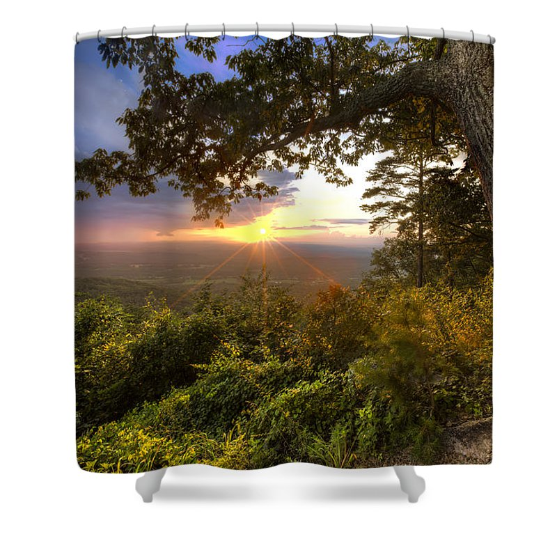 Appalachia Shower Curtain featuring the photograph Blue Ridge Mountain Sunset by Debra and Dave Vanderlaan
