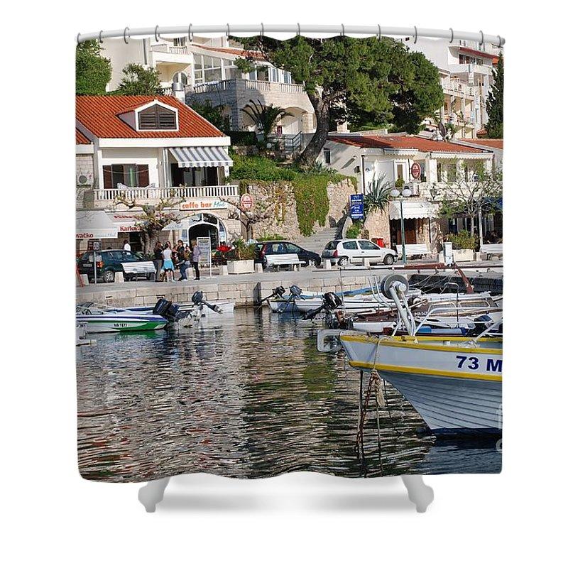Brela Shower Curtain featuring the photograph Brela Harbour Croatia by David Fowler