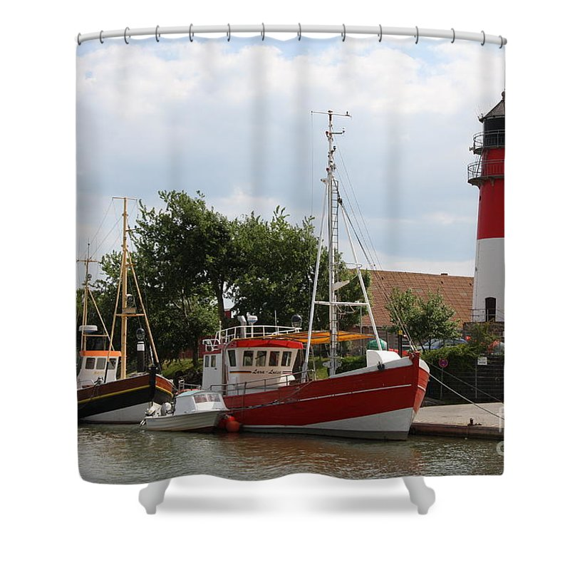 Buesum Shower Curtain featuring the photograph Buesum Lighthouse - North Sea - Germany by Christiane Schulze Art And Photography