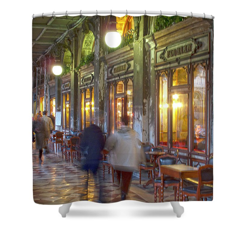 Venice Shower Curtain featuring the photograph Caffe Florian Arcade by Heiko Koehrer-Wagner
