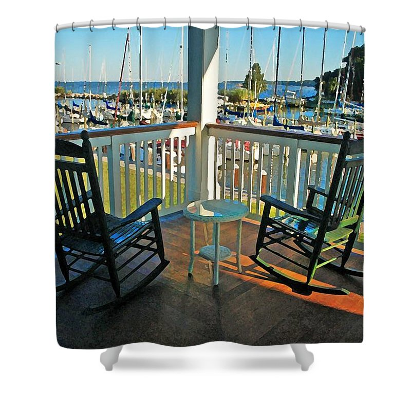 Fairhope Shower Curtain featuring the digital art 2 Chairs On The Fairhope Yacht Club Porch by Michael Thomas