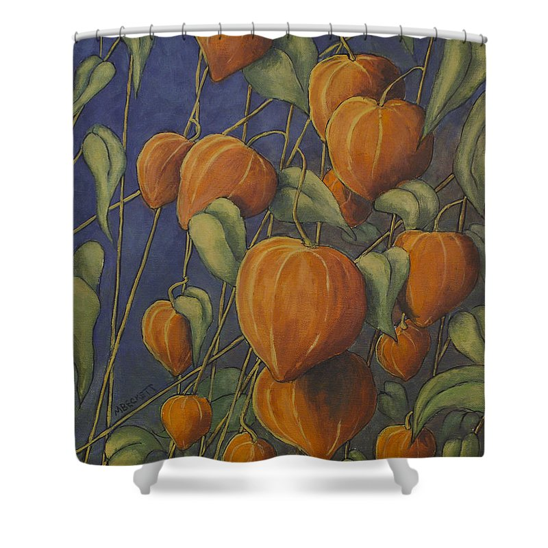 Chinese Shower Curtain featuring the painting Chinese Lanterns by Michael Beckett