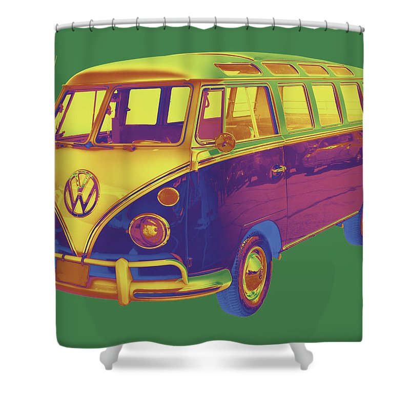 Vw Minibus Shower Curtain Featuring The Photograph Classic 21 Window Mini Bus By Keith Webber