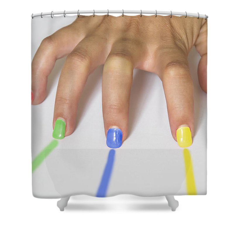 Beautiful Shower Curtain featuring the photograph Colorful Nails by Paulo Goncalves