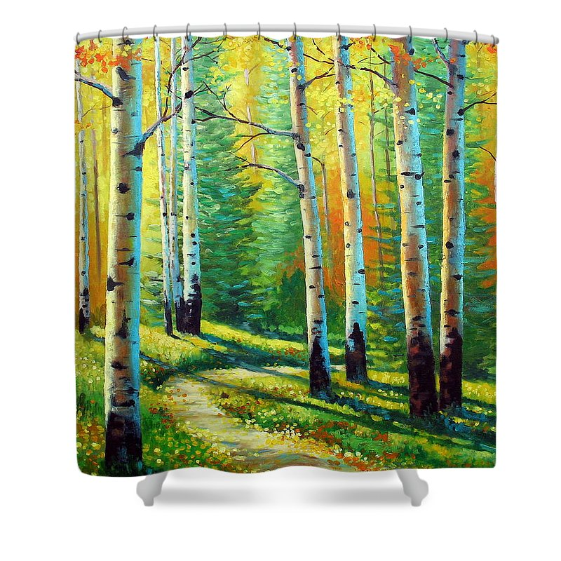 Landscape Shower Curtain featuring the painting Colors Of The Season by David G Paul