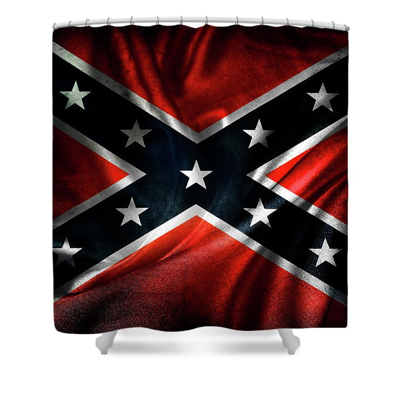 Confederate Flag Shower Curtain featuring the photograph Confederate flag 1 by Les Cunliffe