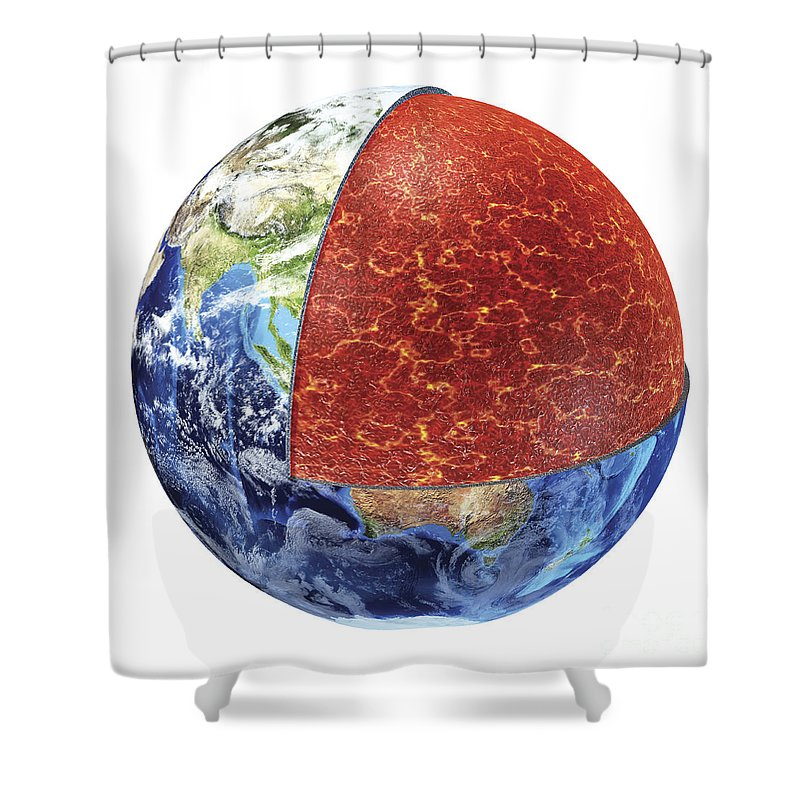 Core Shower Curtain featuring the digital art Cross Section Of Planet Earth Showing by Leonello Calvetti