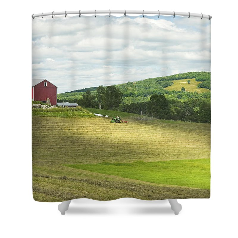 Maine Shower Curtain featuring the photograph Cutting Hay In Summer On Maine Farm by Keith Webber Jr