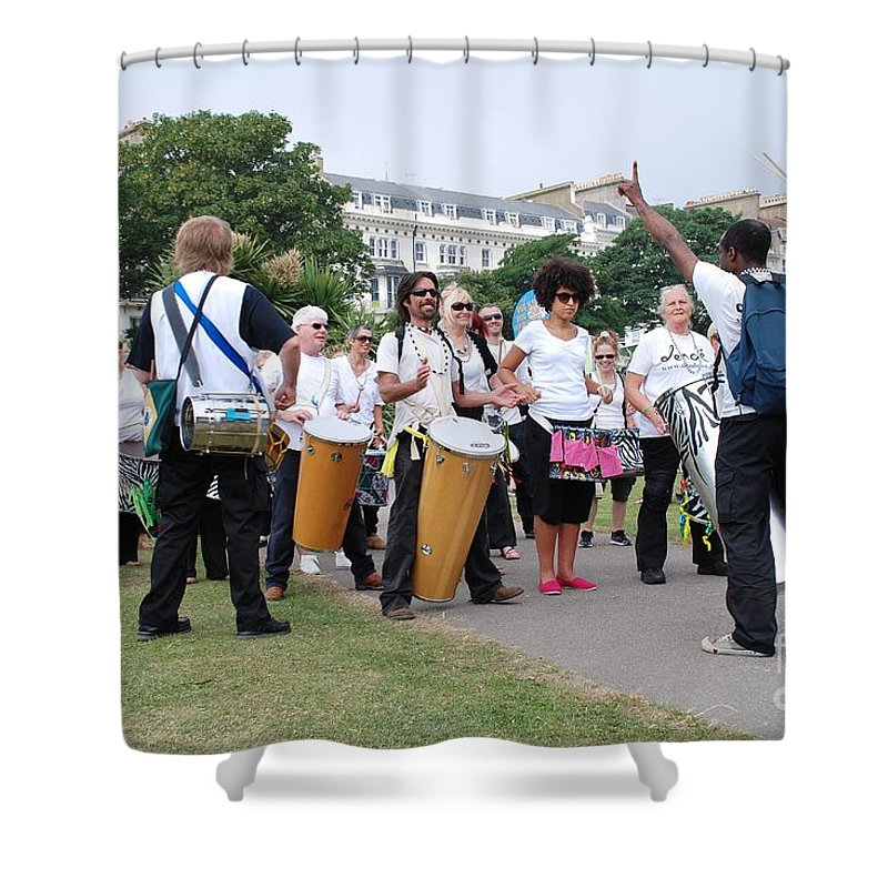 Dende Shower Curtain featuring the photograph Dende Nation Samba Drum Troupe by David Fowler
