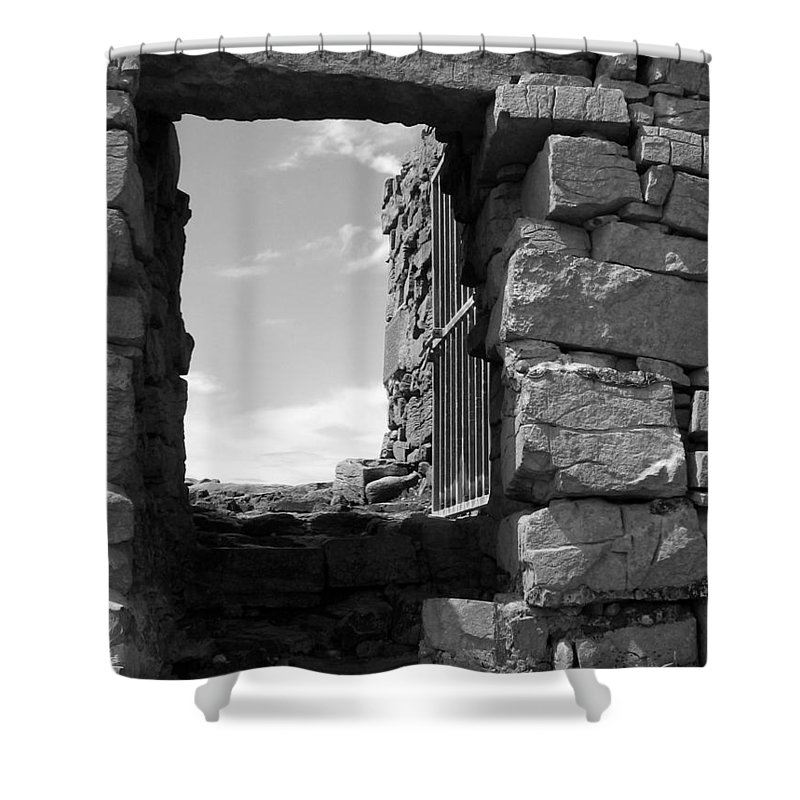 Black And White Shower Curtain featuring the photograph Dun Aengus Doorway by Denise Mazzocco
