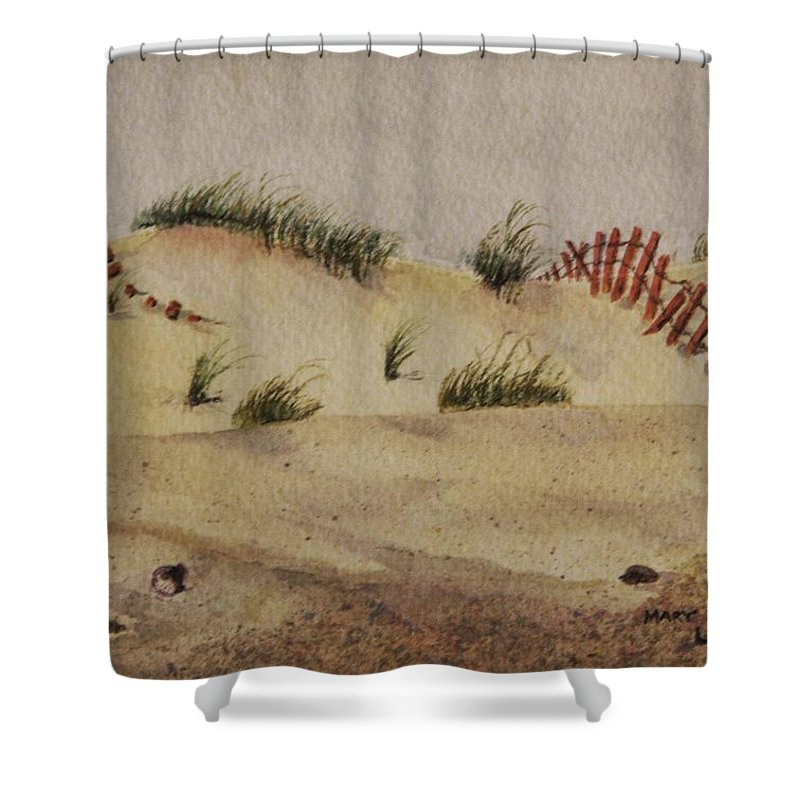Sand Shower Curtain featuring the painting Dunes by Mary Ellen Mueller Legault