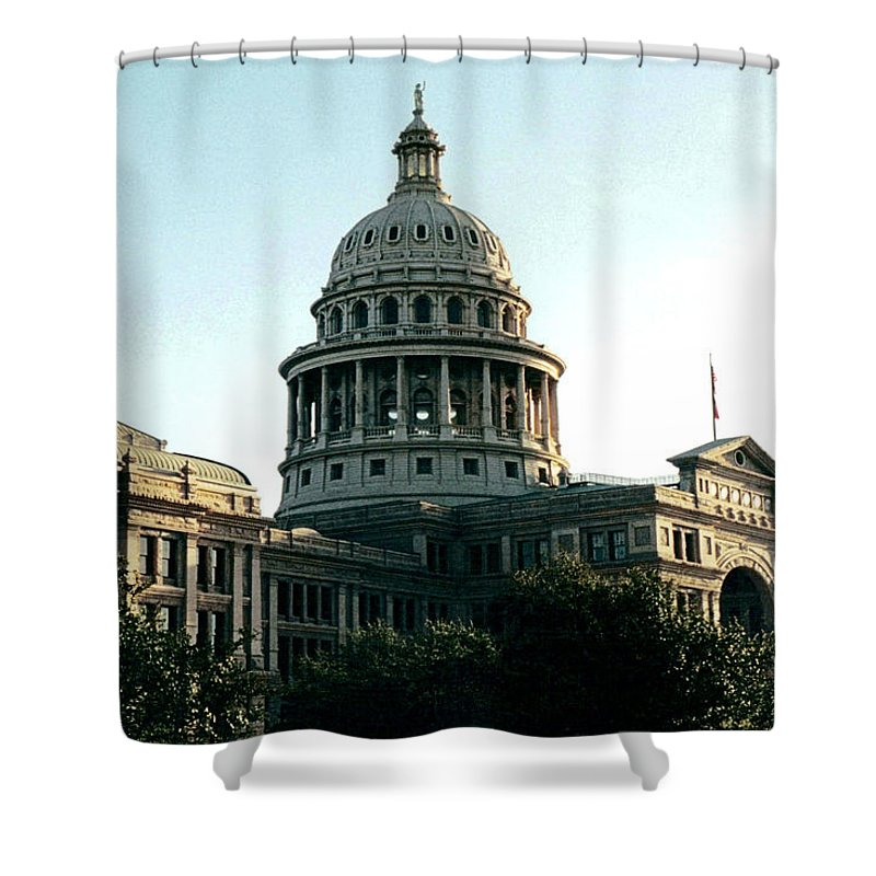 Original Shower Curtain featuring the photograph Early Morning At The Texas State Capital by J D Owen
