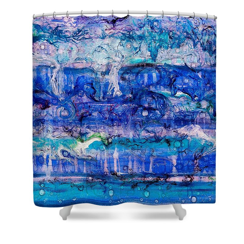 Ebb Shower Curtain featuring the painting Ebb And Flow by Regina Valluzzi