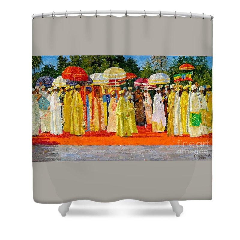 Ethiopian Epiphany Shower Curtain featuring the painting Ethiopian Epiphany by Yoseph Abate