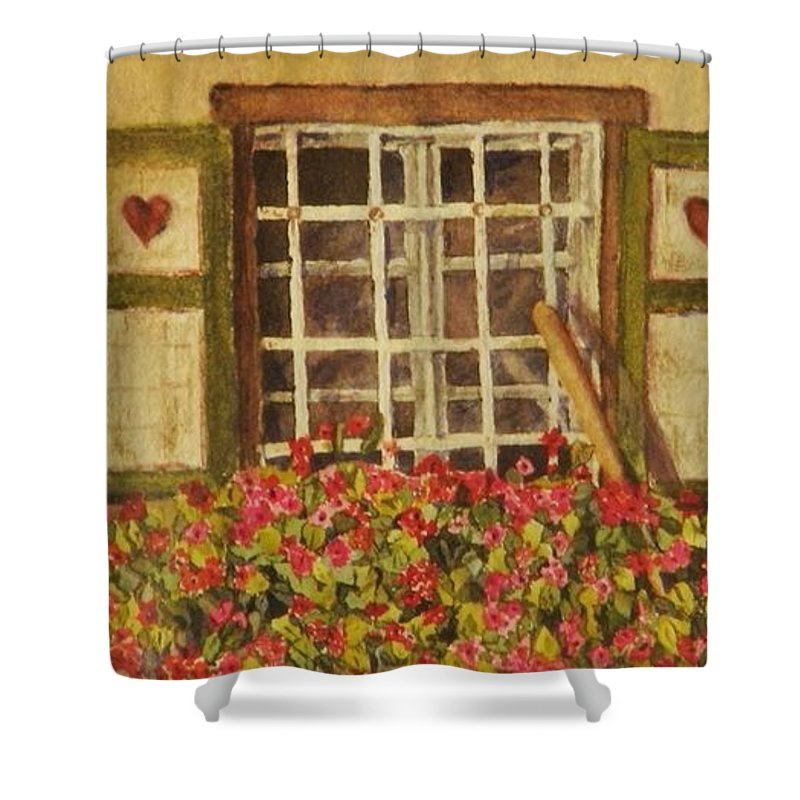 Rural Shower Curtain featuring the painting Farm Window by Mary Ellen Mueller Legault