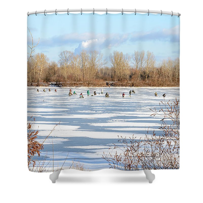 Dnieper Shower Curtain featuring the photograph Fishermen On The Frozen River by Alain De Maximy