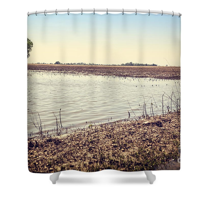 Acts Of God Shower Curtain featuring the photograph Flooded Farmland by Leslie Banks