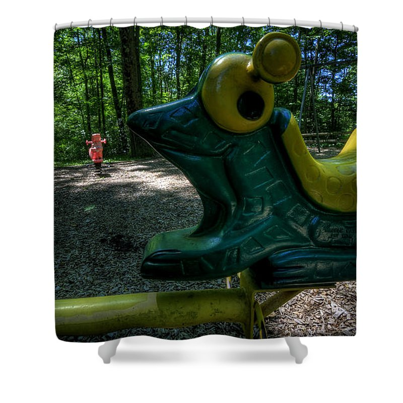 Playground Shower Curtain featuring the photograph Forgotten Playground by David Dufresne