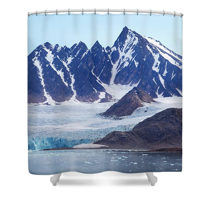 Scenics Shower Curtain featuring the photograph Glaciers Tumble Into The Sea In The by Anna Henly