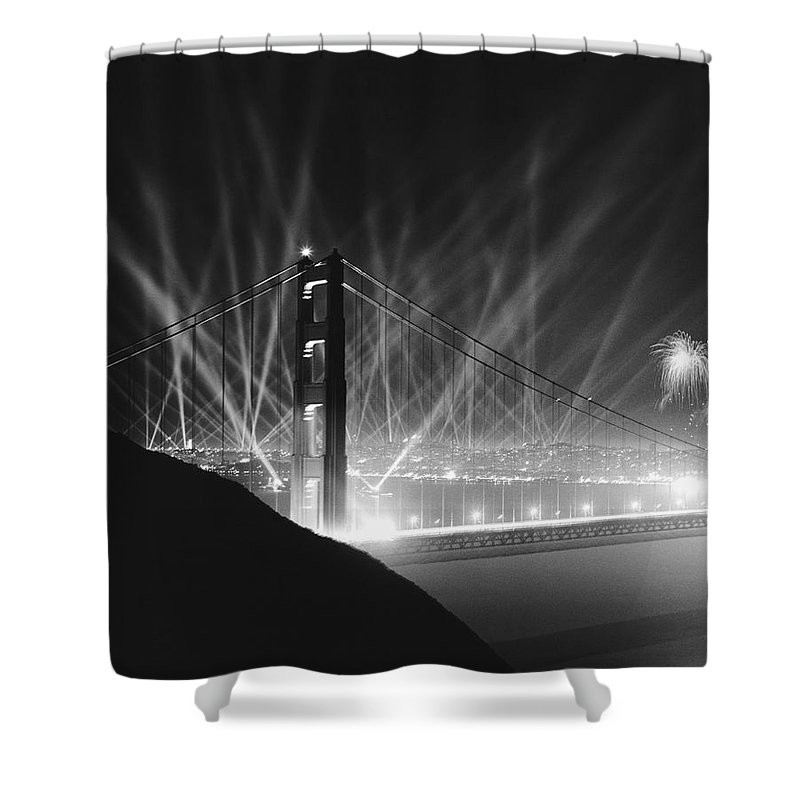 1930's Shower Curtain featuring the photograph Golden Gate Bridge Opening by Underwood Archives