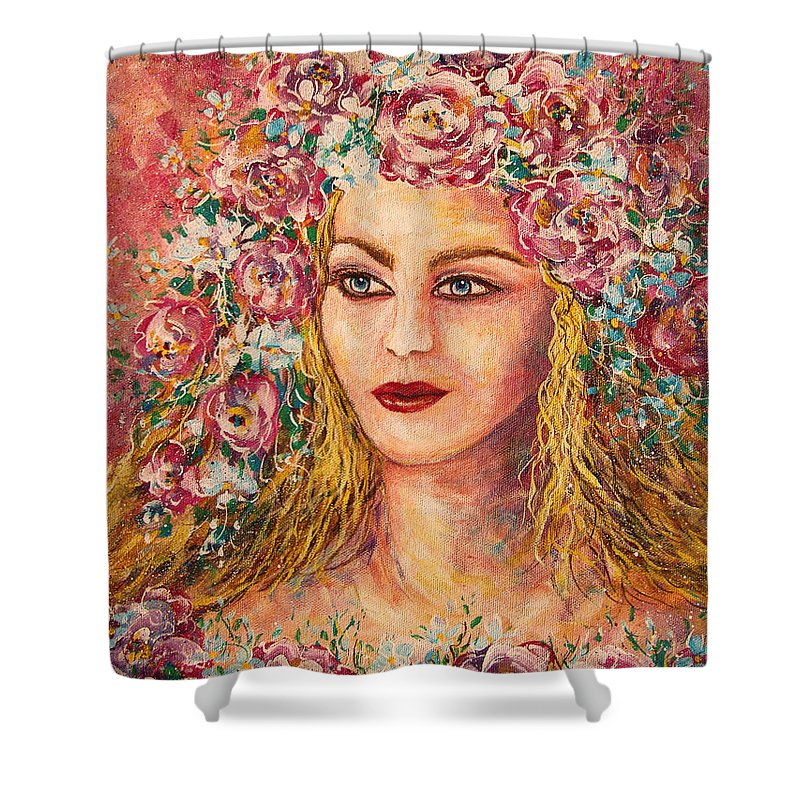 Goddess Shower Curtain featuring the painting Good Fortune Goddess by Natalie Holland