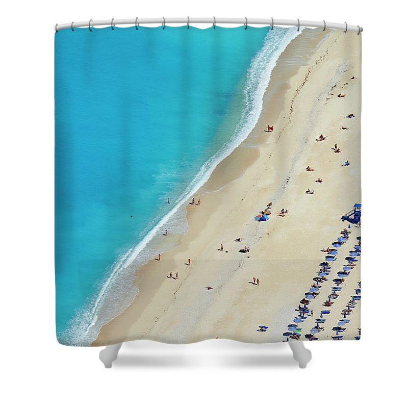 Water's Edge Shower Curtain featuring the photograph Greece, Ionian Island, Cephalonia by Tuul & Bruno Morandi