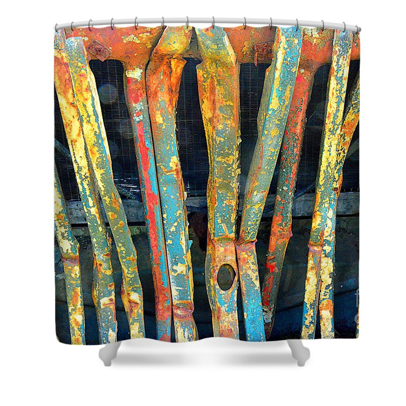 Abstract Shower Curtain featuring the photograph Grilled by Lauren Leigh Hunter Fine Art Photography
