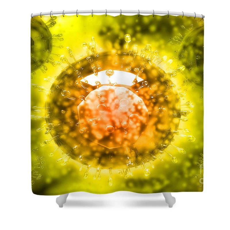 Protoplasm Shower Curtain featuring the digital art Group Of H5n1 Virus With Glassy View by Stocktrek Images