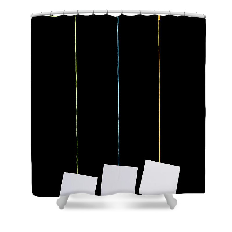Advertisement Shower Curtain featuring the photograph Hanging White Tags by Tim Hester
