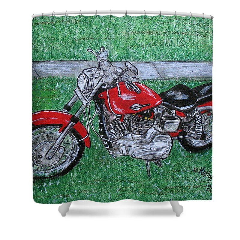 Harley Shower Curtain featuring the painting Harley Red Sportster Motorcycle by Kathy Marrs Chandler
