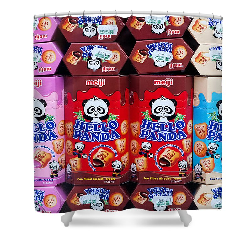Hello Shower Curtain featuring the photograph Hello Panda Biscuits by Rick Piper Photography