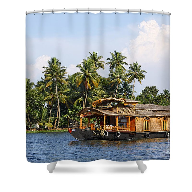 House Boat Shower Curtain featuring the photograph Houseboats On The Kerala Backwaters by Robert Preston