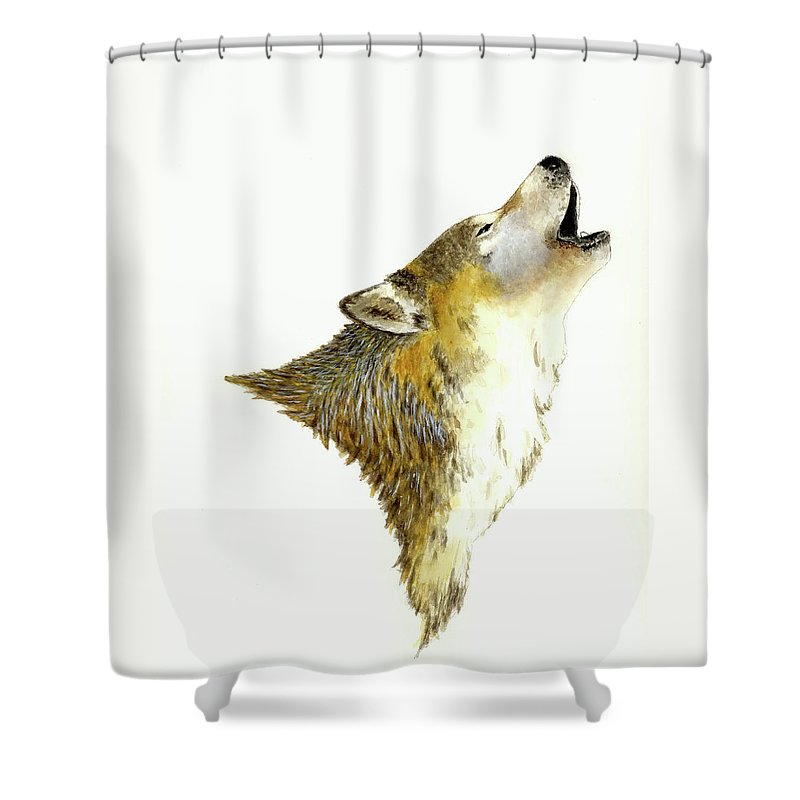 Animals Shower Curtain featuring the painting Howling Wolf by Michael Vigliotti