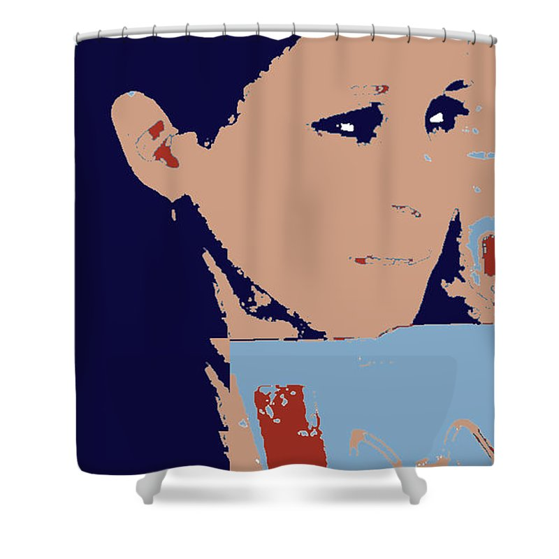 Photo Illustration Offbeat Blue Brick Back Wistful Face Peggy Cooper Cooperhouse Publishing Shower Curtain featuring the digital art Self Portrait by Peggy Cooper