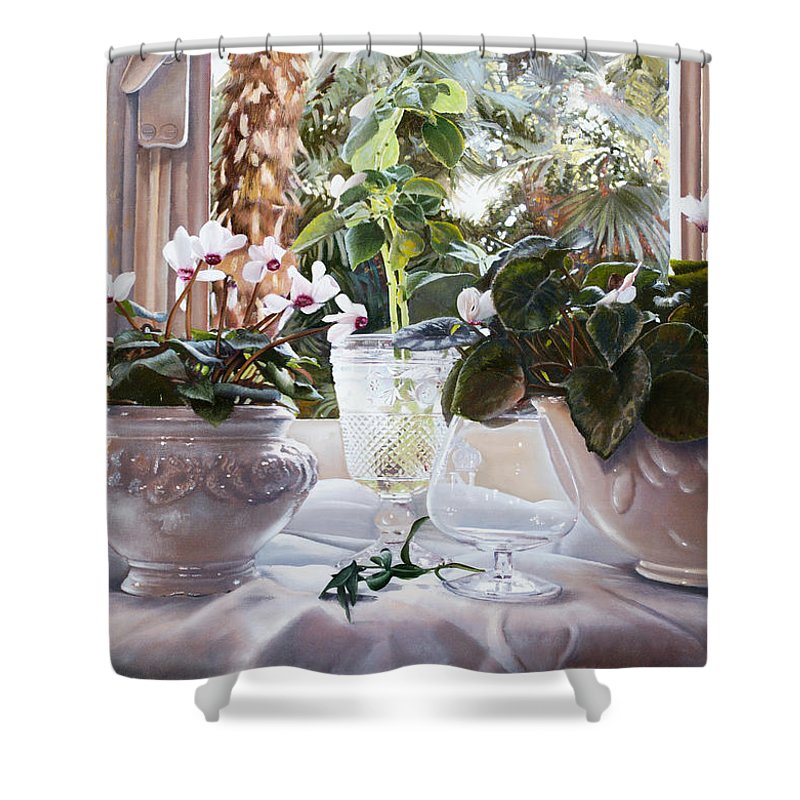 Ciclamini Shower Curtain featuring the painting I Ciclamini by Danka Weitzen