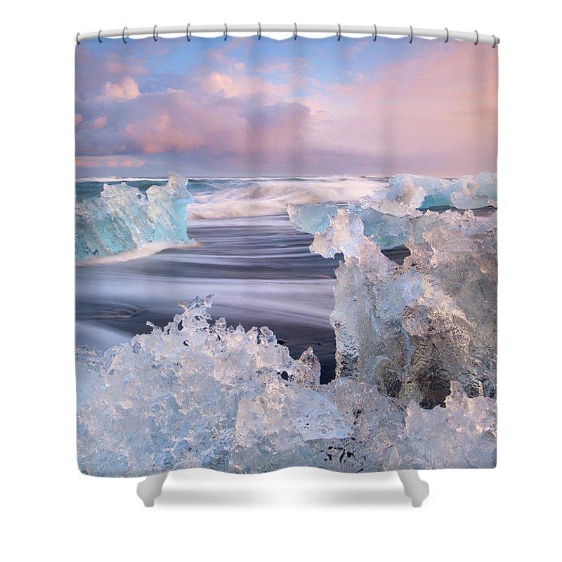 Scenics Shower Curtain featuring the photograph Iceland, Skaftafell, Jokulsarlon by Travelpix Ltd