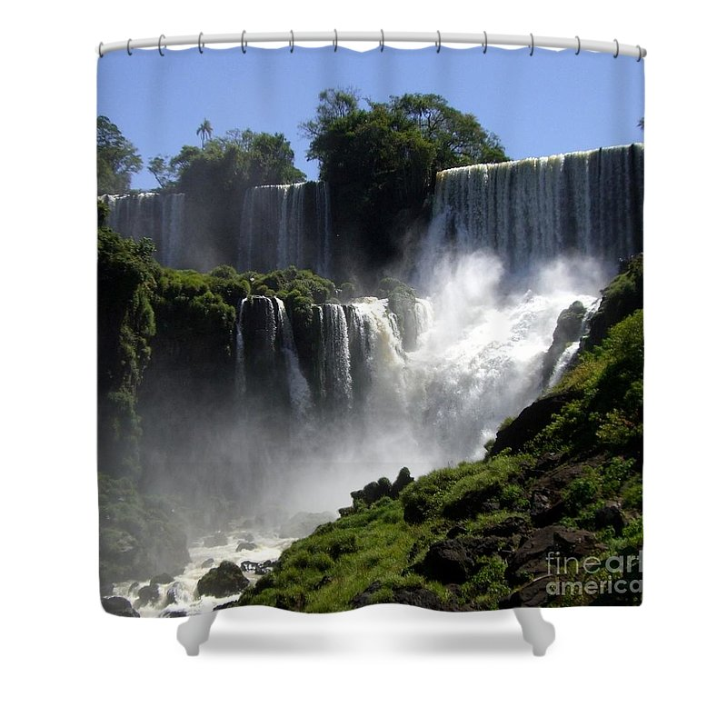 Waterfalls Shower Curtain featuring the photograph Iguassu Falls by Barbie Corbett-Newmin