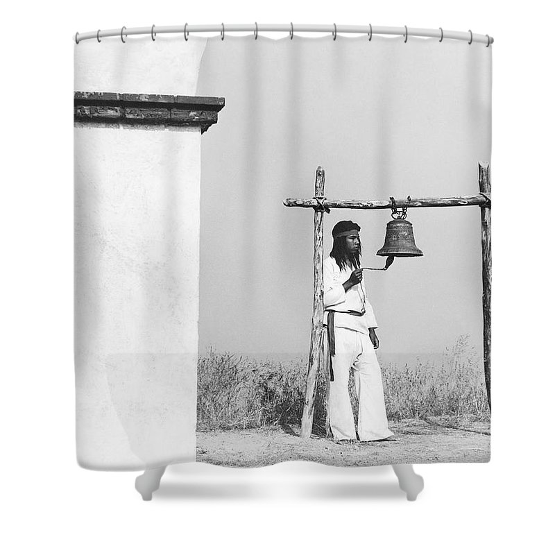 1 Person Shower Curtain featuring the photograph Indians Building Missions by Underwood Archives Onia