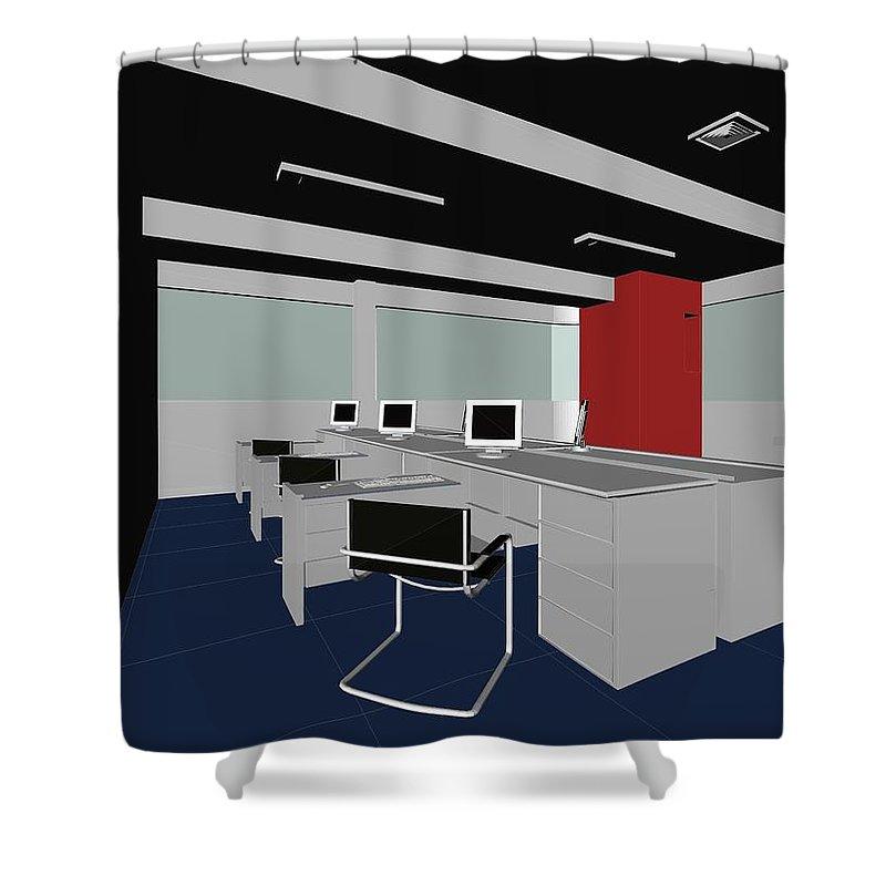 Boss Shower Curtain featuring the digital art Interior Office Rooms by Nenad Cerovic