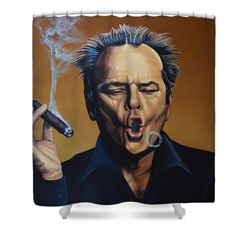 Jack Nicholson Shower Curtain featuring the painting Jack Nicholson Painting by Paul Meijering