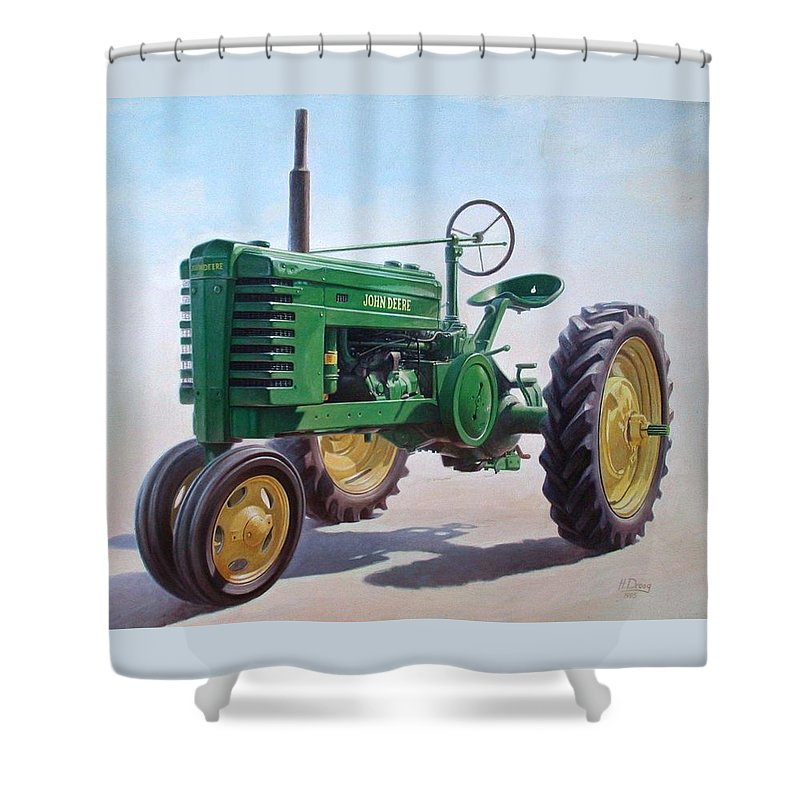 Tractor Shower Curtain featuring the painting John Deere Tractor by Hans Droog