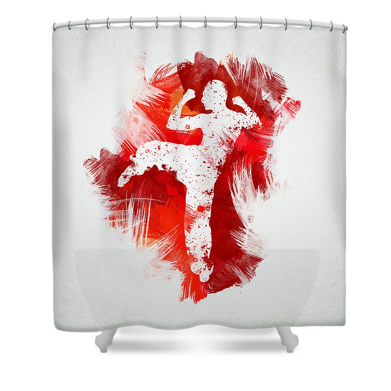Action Shower Curtain featuring the digital art Karate Fighter by Aged Pixel