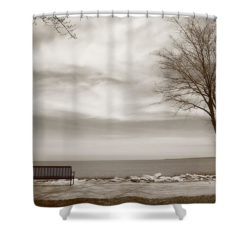 Art Shower Curtain featuring the photograph Lake And Park Bench by Frank Romeo