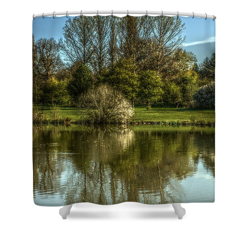 St James Lake Shower Curtain featuring the photograph Lake Reflections by Jeremy Hayden