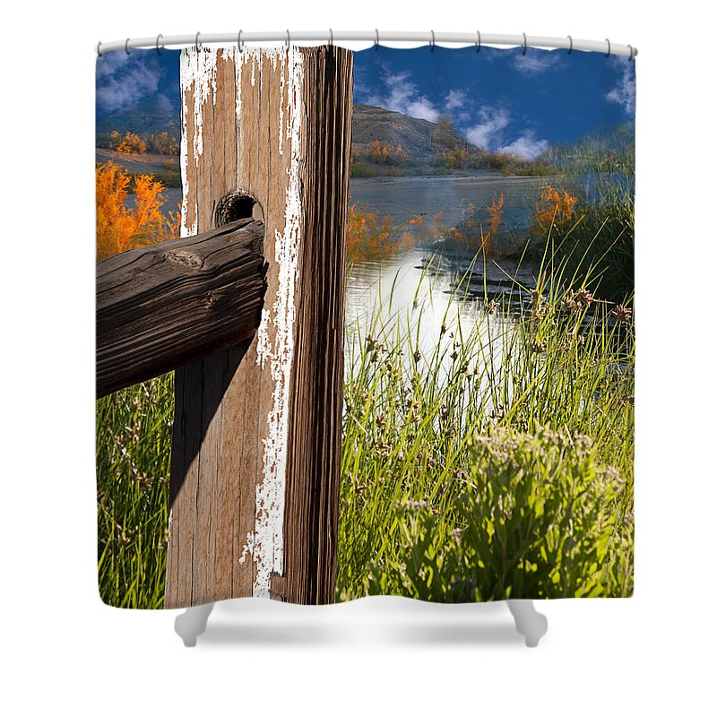 Agriculture Shower Curtain featuring the photograph Landscape With Fence Pole by Gunter Nezhoda