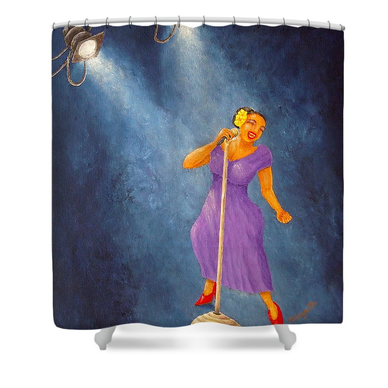 Pamela Allegretto Shower Curtain featuring the painting Latina Jazz Diva by Pamela Allegretto