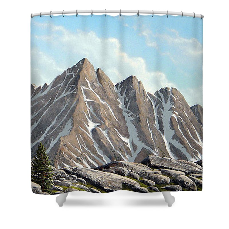 Landscape Shower Curtain featuring the painting Lofty Peaks by Frank Wilson