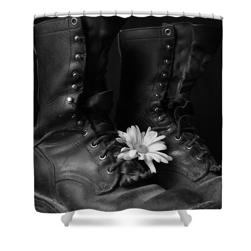 Boot Shower Curtain featuring the photograph Many Miles by Kerri Mortenson