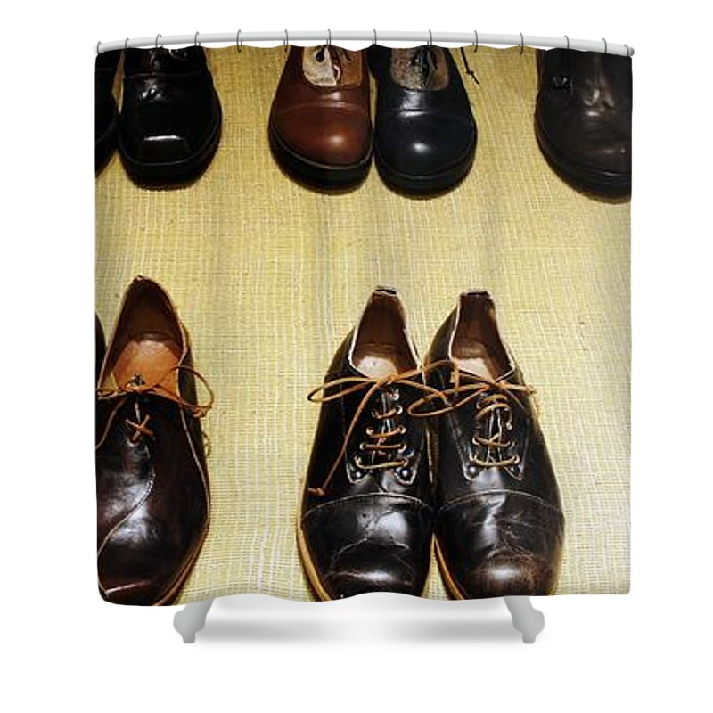 Mens Shower Curtain featuring the photograph Mens Fine Italian Leather Shoes by Lilliana Mendez