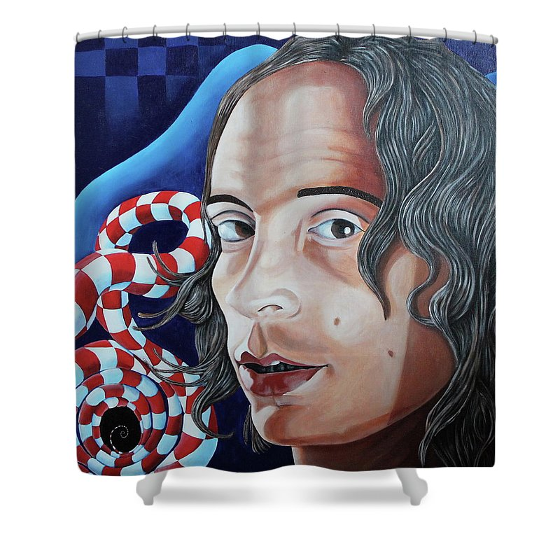 Mike Martinelli Shower Curtain featuring the painting Michael by Don Martinelli